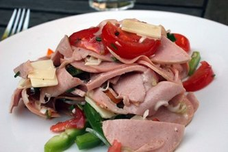 Fleischsalat Chopped Meat Salad With Vinaigrette Dressing