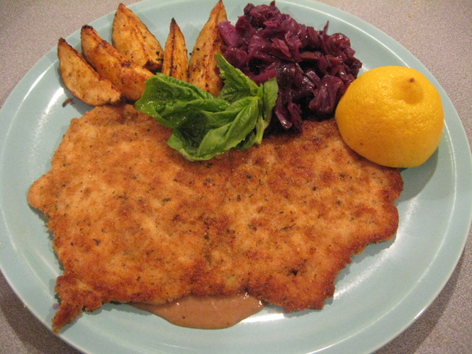 Prepare 4 Schnitzels . Go here for a detailed step by step recipe with ...