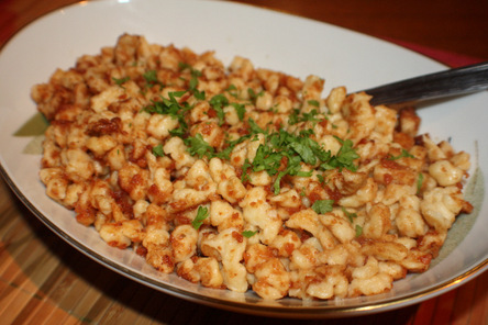 Spätzle, or Spaetzle with Butter Crumb Topping