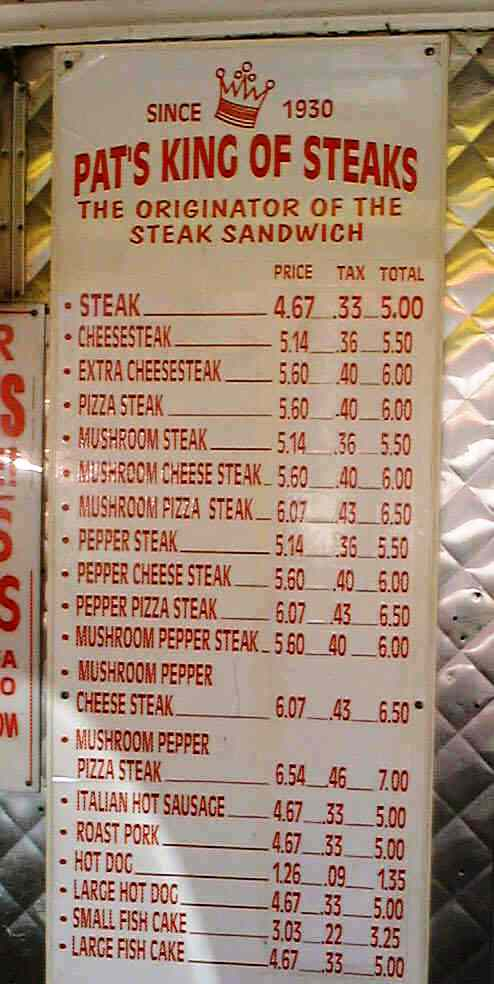 philly cheese steak menu